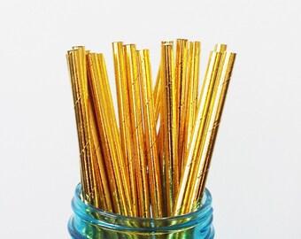 Metallic Gold Paper Straws - 30 Pack - Shiny Gold Straws