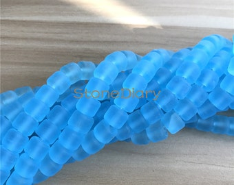 African Recycled Glass Beads,Matte Blue African Glass Tube Beads Full Strand 8x10mm A16121902