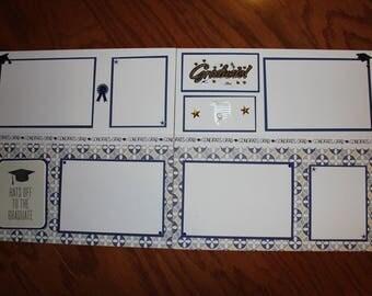 12 x 12 graduation scrapbook layout titled , Graduate, graduation premade scrapbook layout, 12 x 12 graduation double page layout