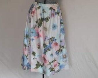 Vintage Floral Cotton Midi Skirt. Soft, Full. Blue, Pink Flowery Skirt. Mod Retro 1980s 1970s Skirt. Handmade summer or Winter Boho Skirt.