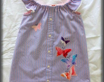 Toddler Girls pj's / Toddler girls night dress/ Girls cotton nightgown/ Girls summer nightgown in size 3-4T with applique and embroidery