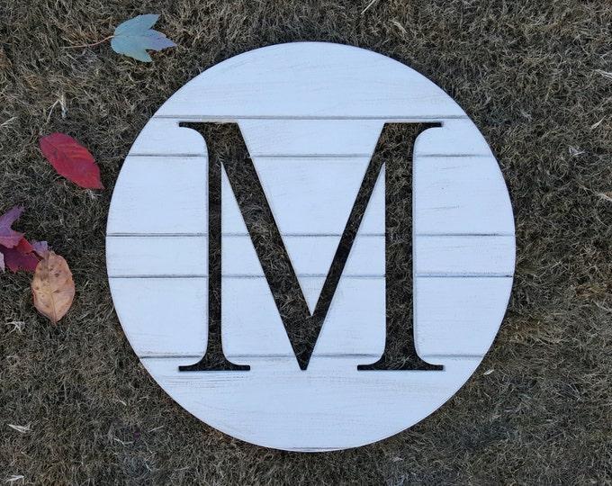 "Wooden Letter Round - Shiplap Look - Farmhouse - 20"" Diameter"