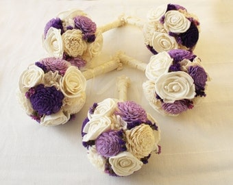 Bridal Bouquet or Bridesmaid bouquet , Wedding Cream/Purple, Sola flowers