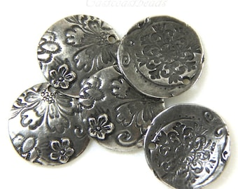 TierraCast Charms, Flora Pendant Charms, Dulce Vida Collection, Antiqued Pewter, Double Sided Charm, Jewelry Findings,....... 4 Pieces, 0240