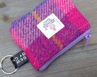 Harris tweed coin purse in pink purple check with key ring loop