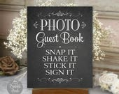 Photo Guest Book Sign, Chalkboard Printable Wedding Sign, Guest Book Alternative, Choose Your Size, Digital  (#GUE3C)