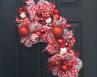 Deco Mesh Snowman Candy Cane Wreath For Front Door, Candy Cane Christmas Decor, Red Deco Mesh Christmas Wreath, Snowman Christmas Wreath