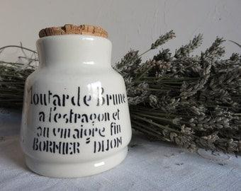 French Mustard Jar/Moutarde pot/White pot/Vintage  ceramic mustard pot /Moutarde Brune a l'estragon