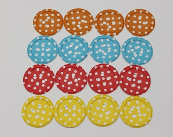 Polka-dots paper buttons. Pack with 16