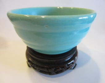 Bauer USA Blue Ring Ware Signed Pottery Bowl