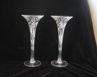Set of 2 Glass Candlesticks - Lovely!