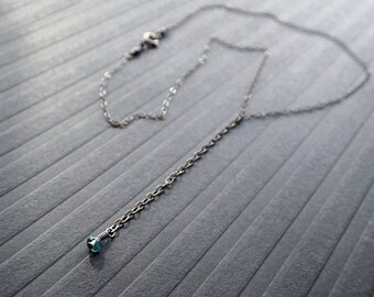 Blue Tourmaline Delicate Drop Necklace, Oxidized Sterling Silver Y Choker, London Blue Lariat, Dainty Bolo, Teal, Boho, Bohemian, Minimalist