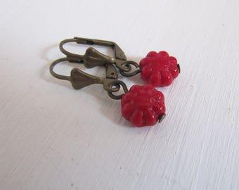 Red Flower Glas Ohrringe vintage Style Rotkäppchen