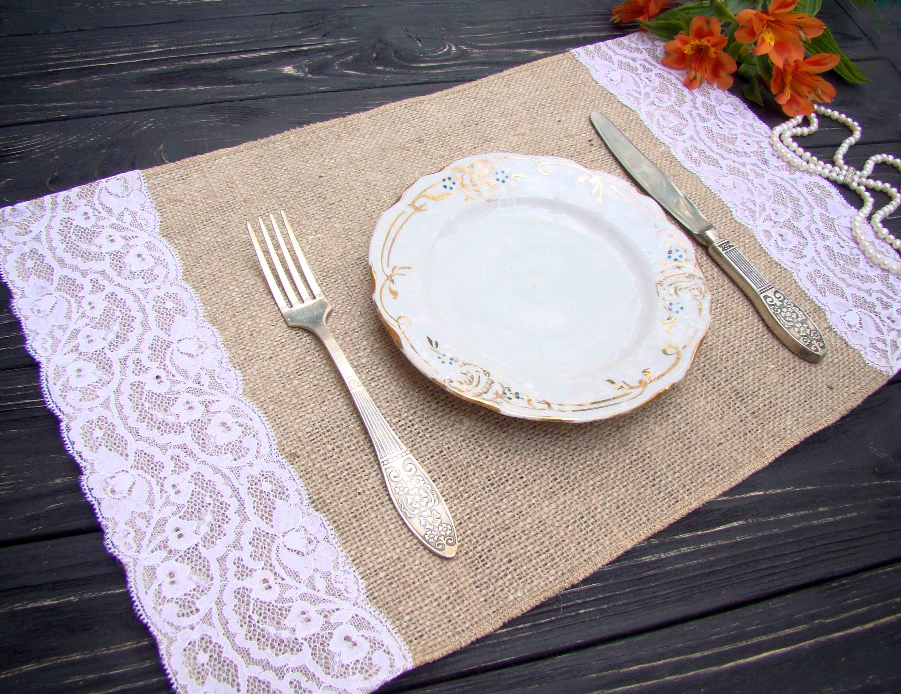 Burlap And Lace Placemat Wedding Table Setting Rustic Table