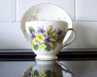 Vintage English Bone China Duchess Primrose and Violets Cup & Saucer