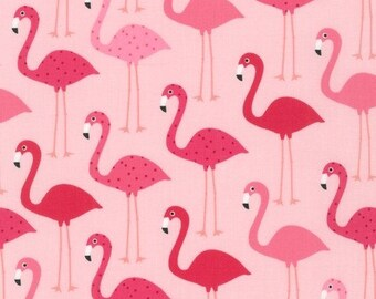 Fabric - Robert Kaufman - Urban zoologie flamingo cotton print - pink base