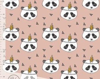 Fabric -  Elvelyckan Design - Panda dusky pink cotton - organic jersey knit