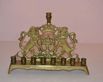 1930s Solid Brass European Judaica Lions Hanukkah Menorah