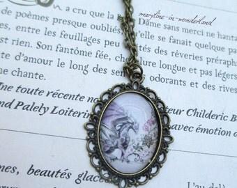 Bronze Dragon purple cabochon necklace