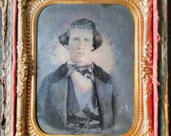 1/9th Victorian Clear Glass Ambrotype of Gentlemen in Bowtie