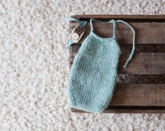 Knitted newborn romper seafoam blue green mint baby blue wool photography prop