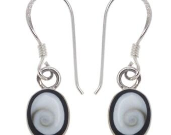 Shivaauge Silver earrings black oval edge 8 mm earrings 925 Silver Shiva eye eye ladies jewelry (No. OSH-89)