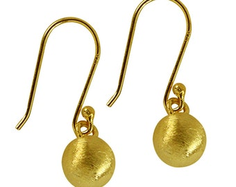 Silver earrings 8 mm gold plated round earrings lines brushed 925 Sterling Silver (No. OSG-06)