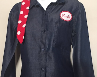 Women/Adult - Rosie the Riveter Costume (Shirt & Headband)