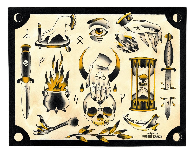 Occult tattoo flash sheet.