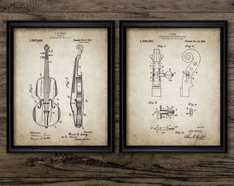 Violin Patent Print Set Of 2 Prints - Violin Design - Orchestra - Classical Music - Violinist - Set Of Two Prints #2242 - INSTANT DOWNLOAD