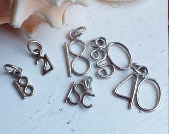 Sterling Silver Birthday Number Charm Handmade