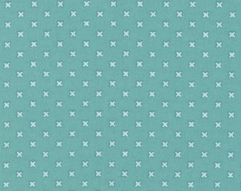 Cross Stitches - Light Turquoise by Lecien (31196-60) Cotton Fabric Yardage