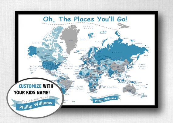 Childrens World Push Pin Map Print Only Oh The Places - Children's maps to print