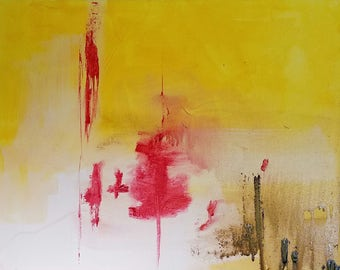 Original Abstract Acrylic Painting bold yellow red visions