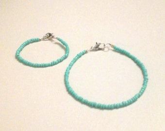 Mommy and me matching bracelets Turquosie Seed Beads, Back to School