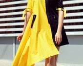 ON SALE 30% OFF Black and Yellow Extravagant Dress / Funky Asymmetrical Dress / Extravagant Summer Dress Tdk179 / Ss16