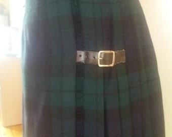 Vintage 90s Belted Green/Blue Skirt/Kilt