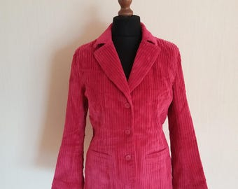 Pink Corduroy Womens Jacket Long Sleeves Medium Size