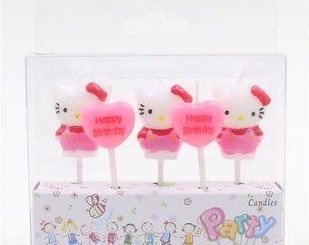 "Hello Kitty Set Of 5 Birthday Candle / Cake Topper set 1"" X 1"""