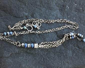 Long sterling silver necklace, oxidized silver tassel necklace, long boho necklace, dumortierite stone necklace, artisan necklace