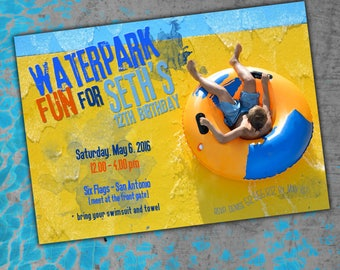 Water park birthday invitation, printable, adventure park, swim birthday, theme park, pool party, swim party, beach party, summer