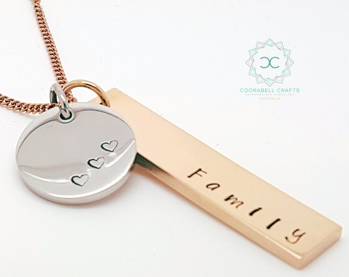 Personalised Jewellery, Personalised Necklace, Family Necklace Rose Gold Rectangle Silver Disk Customised Own Names. Hand Stamped / Engraved
