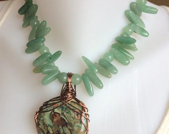 Green Aventurine Beaded Necklace with Wire Wrapped Pendant