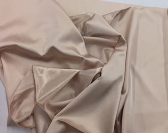 Champagne 58 inch 2 way stretch charmeuse satin-super soft silky satin-wedding-bridal-prom-nightgown-sold by the yard.