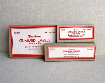 3 Boxes of Vintage Dennison Gummed Labels in 3 Sizes. 1960s.