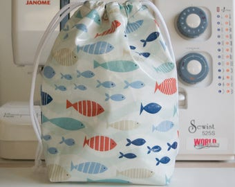 Handmade Waterproof Toiletry/Wash/Drawstring Bag - Fishy - Oil Cloth