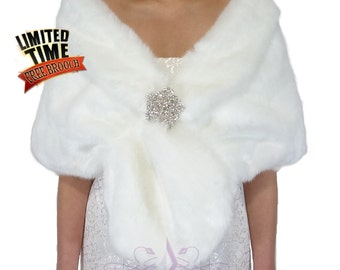 Faux Fur Wrap, White Faux Fur Stole, Fur Shrug, Faux Fur, Bridal Fur, Fur Cape, Wedding Fur Shawl, Bridal Wrap, Faux Fur Shawl, FS108-WHIs