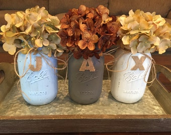 Baby Boy Shower Painted Mason Jars with Name