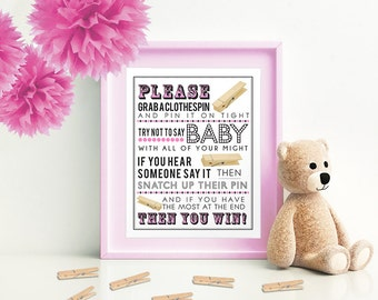 Pink Clothespin Game for Baby Shower  5x7 & 8x10 PDF  Instant download printable