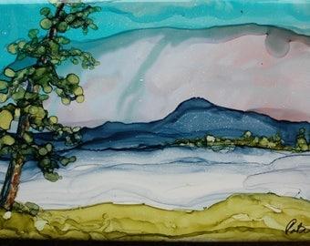 ESTES - 4.25 x 8.5 Inch Original Alochol Ink Painting on Ceramic Tile